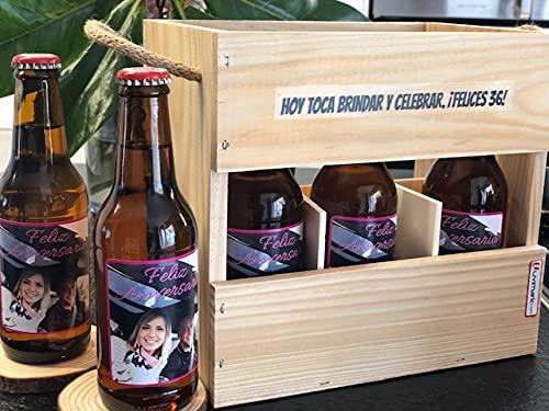 Set de 6 cervezas personalizadas con caja de madera, cervezas con foto para regalar, eventos, bodas, cumpleaños, aniversario, día del padre, Uvimark