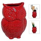 MyGift Diseño de Búho rojo Soporte de utensilios de cocina de cerámica/Almacenamiento de cocina multipropósito MyGift