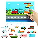 Larcele 26 Piezas Vehículos Puzzle de Madera de Magnéticos Juguete de Transporte Educativo Temprano Durante Más de 36 Meses Niños Niñas YZPT-01 (923c)