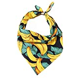 LUCKITTY Dog Bandanas Cotton Triangle Scarf 3D Pattern Design (Banana, M),for Medium Large Dogs,Puppies,Cats,Pets