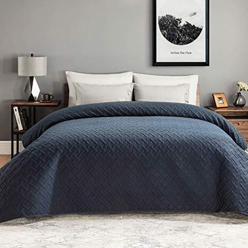 Bedsure Tagesdecke 200x220 Navy blau Schlafzimmer- Bettüberwurf 200 x 220 cm für Bett, Wohndecke aus Mikrofaser mit Ultraschall genäht, als Steppdecke Sommer Komfort und Weich