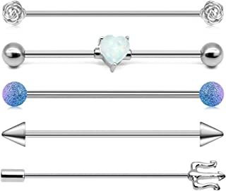 QWALIT Industrial Barbell 14G Cartilage Earrings Surgical Stainless Steel Scaffold Piercings Arrow Industrial Piercing Jewelry for Women Men Bar 35mm 38mm Silver Rose Gold Black
