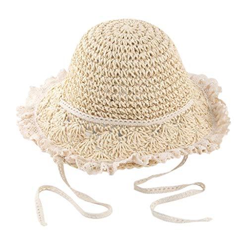 cover Sonnenhut Kinder Mädchen Strohhut mit Spitze Rüschen Atmungsaktive Sonnenhüte Sommerhut Strand Hut (Beige)
