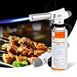 Butane Torch, Professional Kitchen Blow Torch, Culinary Torch Chef Cooking Torches with Adjustable Flame & Reverse Use for Creme Brulee, Baking, Crafts, BBQ (Butane Gas Not Included) (White)
