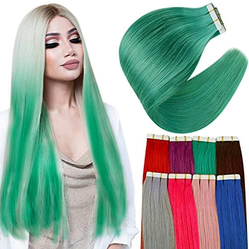 Hetto Adhesive Extension Cheveux Humain Sarcelle Tape Adhesive Cheveux Naturel 22 Pouces 10 Pièces Extensions Vrai Cheveux Femme Lisse Bande Adhésif 25g par Paquet