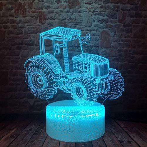 ZXBB Coche 3D Luz Dinámica Tractor Coche Vehículo Niños Luz Noche USB Holograma 7 Cambio de Color Lámpara de Mesa Niños Niños Cumpleaños Navidad Juguete 16ColorRemote