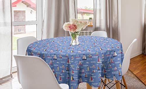 ABAKUHAUS Het zeilen Rond Tafelkleed, Zomer Zeilboten Waves, Decoratie voor Eetkamer Keuken, 150 cm, Ceil Blue en Multicolor