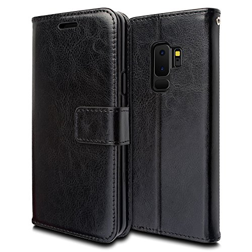 TECHGEAR PU Lederen Boek/Portemonnee/Flip Case Compatibel met Samsung Galaxy S9 Plus - Volledige Beschermhoes met kaartsleuven, Kickstand en Polsband - PU Leer