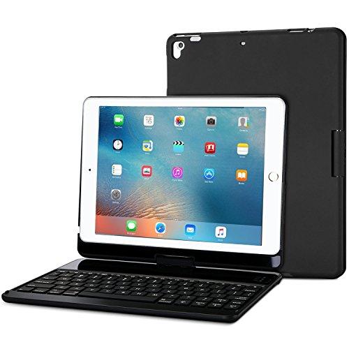 ProCase Tastatur Hülle (QWERTY- US Layout) für iPad/iPad Air 2018/2017/Pro 2016 9.7 Zoll,360 Grad Drehbar Schutzhülle mit Kabellos Englisch Tastatur -Schwarz