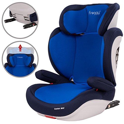 Froggy® Autokindersitz mit ISOFIX Gruppe II/III + Sicherheitsnorm ECE R44/04 + 5-Punkte-Sicherheitsgurt verstellbare Kopfstütze+Rückenlehne Blau