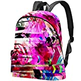 Canvas Backpack Abstract Seamless Floral Texture Stripes 21L Casual Outdoor Daypack for Men Women Boys Girls School Work
