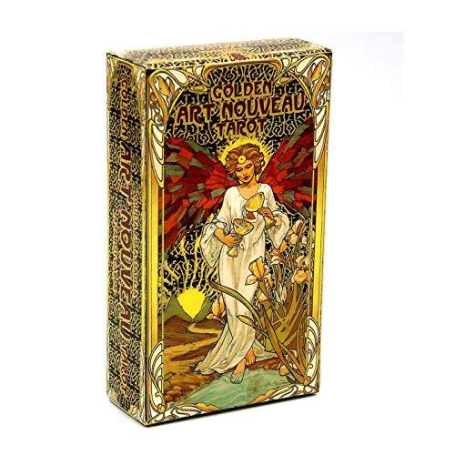 NXL Golden Art Nouveau Tarot Deck 78 Karten Mit Reiseführer Karten Occult Divination Book Sets Für Anfänger Klassischer Jugendstil