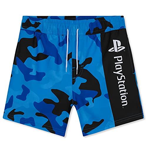 PlayStation Costume Bambino Mare, Costumi da Bagno per Piscina, Spiaggia, Swim Shorts Asciugatura Rapida, Gaming Merchandise (Blu Mimetico, 15-16 Anni)
