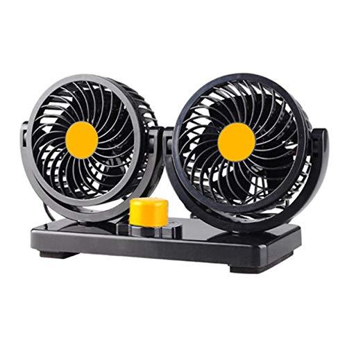 Ventilador de coche Ventilador eléctrico de doble cabezal para vehículo de refrigeración dentro de furgoneta grande y furgoneta pequeña Dos niveles de resistencia 1 Uds-Negro