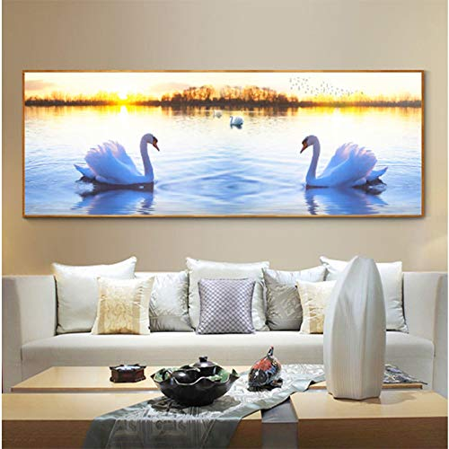 White Swan Lake Deer Natural Landscape Posters and Prints on Canvas Art Modern Wall Picture Living Bed Room Decor 50x150cm/19.7' x 59.1' No frame