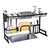 Vilobos Over Sink Dish Drying Rack Stainless Steel Kitchen Supplies Storage Shelf Multifunctional Tableware Drainer Organizer With Utensils Holder (33.4x12.5x20.4)