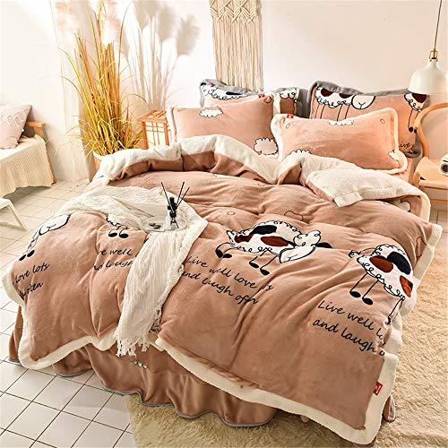 TIUTIU Bettdecken-Sets, Winter Thick Warm Coral Velvet Baby Kaschmir/Kaschmir Kaschmirbezug, Active Printing and Dyeing Doppelseitige Bettwäsche (9,200 * 230cm)