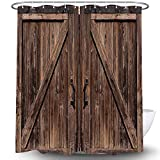 NYMB Old Barn Door Shower Curtain, Wooden Barn Door Garage Door American Style Decorations for Rustic Shower Curtains, Waterproof Bathroom Accessories with 12 PCS Hooks, 69x70 inches