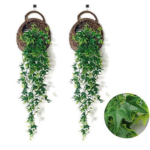 JUN-H 2 Stücke 80 cm Künstliche Efeu Künstliche Pflanzen Kunstpflanzen Plastikpflanzen Hängepflanzen Für Den Innen Außenbereich Balkon Hochzeit Hängekorb Haus-oder Gartendekoration