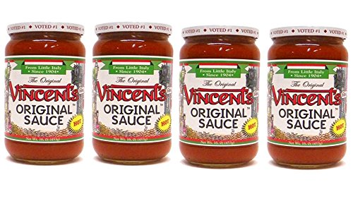 The Original Vincent's Sauce Hot Flavor 16oz 4 Pack From the Heart of Little Italy (Hot)