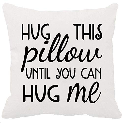 Two Sided Printing Best Lover Couple Sweetheart Gifts Sweet Sayings Hug This Pillow Until You Can Hug Me New Home Decorative Soft Cotton Throw Cushion Cover Pillow Case Square 20 Inches