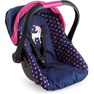 Bayer Design Silla de coche Easy Go, accesorios, Asiento para bebé de Muñecas, color azul con motivo de corazón y…