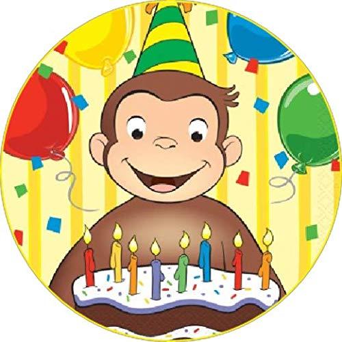 Cialda rotonda per torta CURIOSO COME GEORGE decorazione alimentare senza glutine personalizzazione grafica inclusa topper cake design img 2 (Ostia, 20 cm)