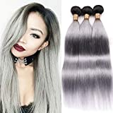Ombre Brazilian Hair Straight 3 Bundles Color Black to Silver Grey Grade 7A Silk Straight Human Hair Sew in Weft Two Tone Hair Bundles 22 24 26 Inch