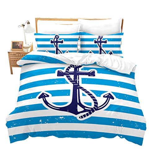 Erosebridal 3 Piece Kids Sailboat Anchor Duvet Cover Ocean Comforter Cover Pirate Boat Stripe Printed Bedding Sets with Zipper Closure for Teens Adults Boys Girls,Full Size,Blue White