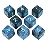 Paladin Roleplaying Gray and Blue Dice - 8 D6 Set - 'Storm Lord'