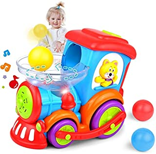 Kidpal Baby Toy, Ball Popping Musical Toy Train for Boy Girl Age 1 2 3 with Light, Music, Chase and 3 Popper Balls, Educational Baby Car Learning Toy for 1 2 3 Year Old, Development Toy Train for Kids