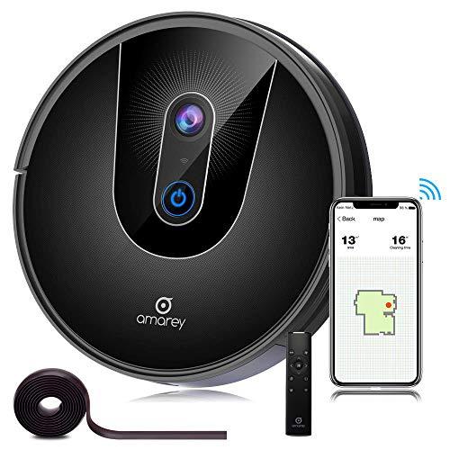 amarey Saugroboter mit Visual SLAM Mapping, A900 mit App Alexa Steuerung, WiFi verbunden Selbstaufladung Roboter 1600Pa, mit HEPA-Filter speziell für die Allergiker, Teppiche und Tierhaare