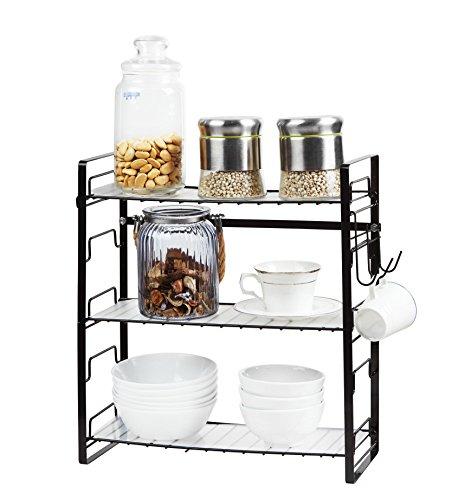 NEUN WELTEN Gewürzregal Einstellbar Küche Hängeregal Oder Standregal 39 x 18 x 42cm(3 Ablagen - Frei zu montieren, Schwarz)