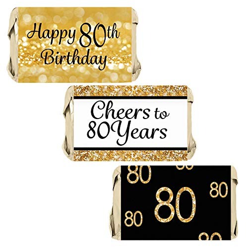 DISTINCTIVS 80th Birthday Party Mini Candy Bar Wrappers - Black and Gold - 45 Stickers
