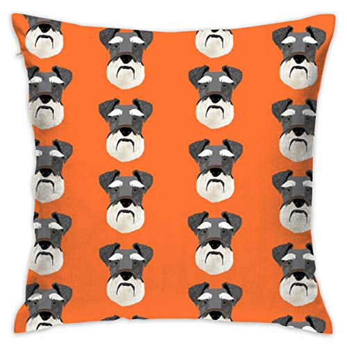 Mabell Beautifully Decorated Home Schnauzer Head Dog Head Dogs Pets Pet - Orange Throw Pillow Case 18X18 Inches