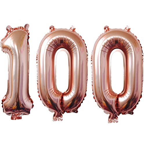 KIYOOMY 40 in Number 100 Balloon Rose Gold Gaint Jumbo Foil Mylar Number Balloons for 100 Birthday Party Decorations (100 (Rose Gold))