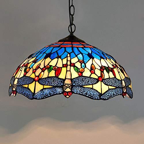 MTTK Dragonfly Tiffany Kronleuchter Buntglas-Decken-Anhänger Licht kreative Innenbeleuchtung Hängelampe 40CM