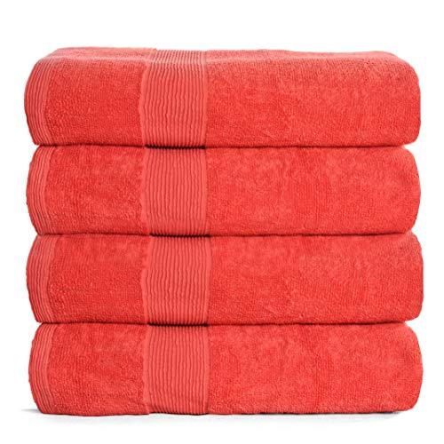 Elvana Home - Juego de 4 toallas de baño de 68,5 x 137,1 cm, 100% algodón hilado en anillo, ultrasuave, muy absorbente, lavable a máquina, calidad de hotel, spa, toallas de...