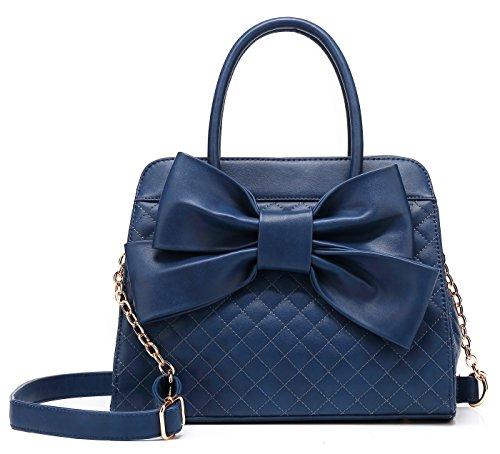 Scarleton Quilted Bow Satchel Handbag for Women, Vegan Leather Crossbody Bag, Shoulder Bag with Removable Adjustable Strap, Tote Purse, Navy, H104819