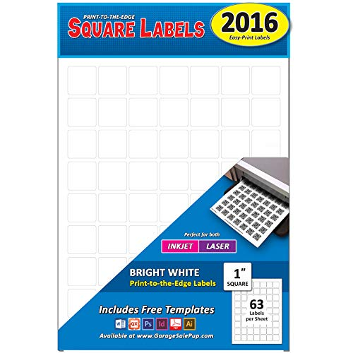 """Pack of 2016, 1 Inch Square White Labels, Inkjet or Laser, Permanent Adhesive, Print to The Edge, Great for QR Codes, 1"""""""