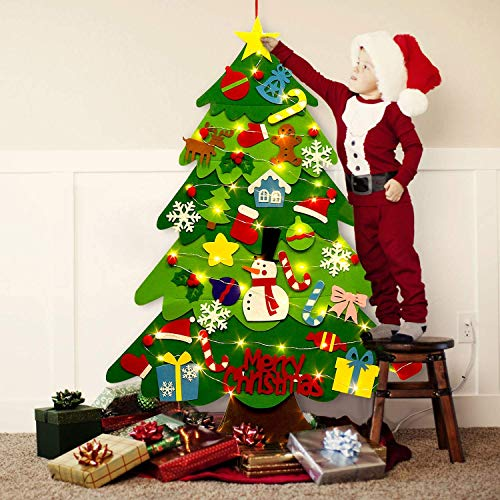Felt Christmas Tree, 3.2ft DIY Wall Christmas Tree with 32 Pcs Detachable Ornaments Wall Decor and 50 LEDs String Lights Christmas Decoration for Toddlers Kids Xmas Gifts Home Door