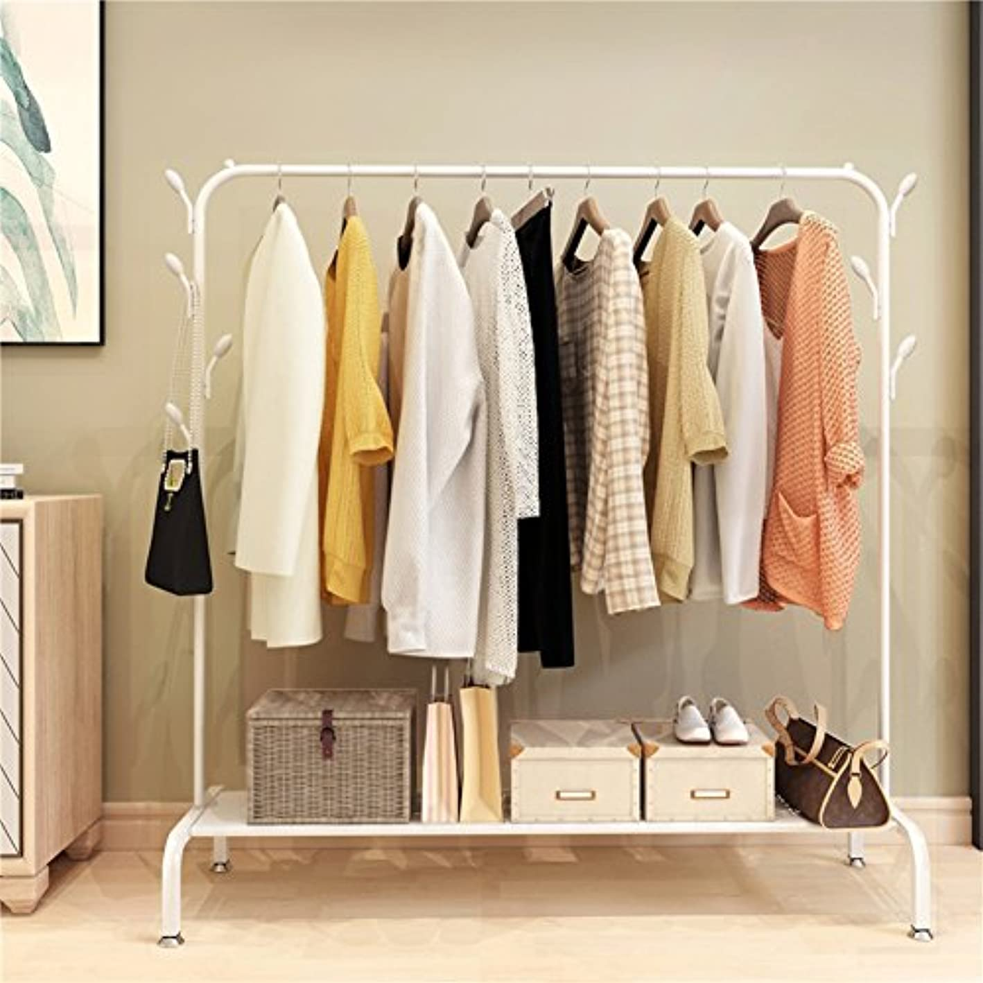 lililili Clothing garment rack heavy duty commercial grade clothes stand rack with top rod and lower storage shelf for boxes shoes boots-White 41''Lx17''Wx60''H
