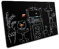 大胆なブロックデザイン - 金魚バンクシー絵画 135x90cm シングルキャンバスアートプリントボックス フレーム付きピクチャーウォールハンギング - 英国製ハンドメイド - 額入りですぐに掛けられます