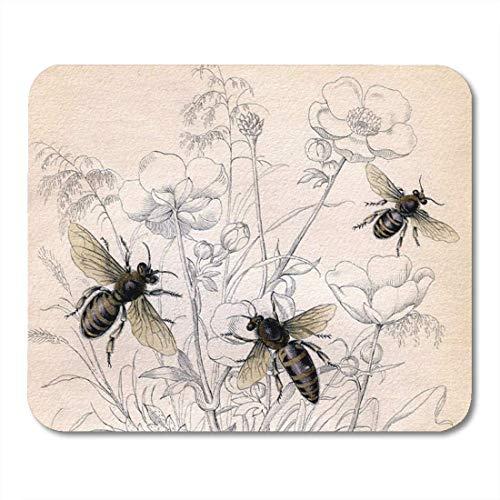 Mauspads Bienen Vintage Honigbiene Insekten Bug Buggy Pollen Maus Matte