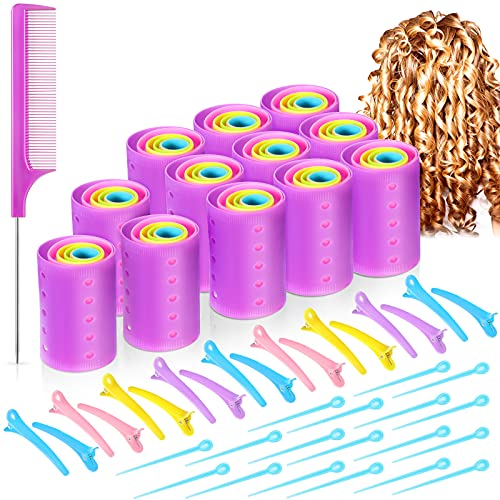 141 Pieces Magnetic Hair Rollers Set, Include 60 Pieces Mixed Sizes Plastic Hair...