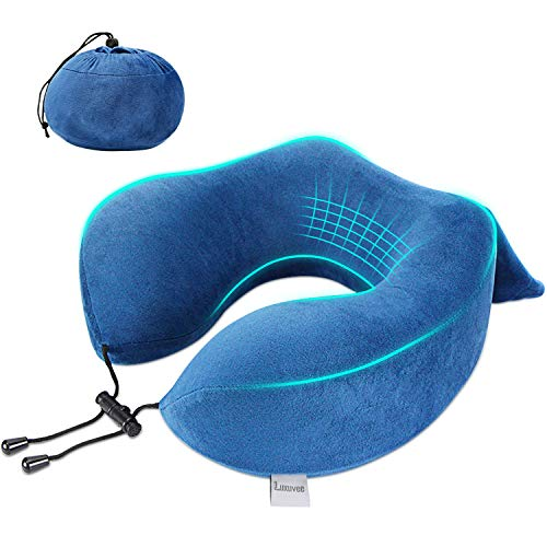 Luxuvee Travel Pillow, Memory Foam Neck Pillow for Flight, U Shaped Support Pillow Neck Cushion for Airplane Car Office