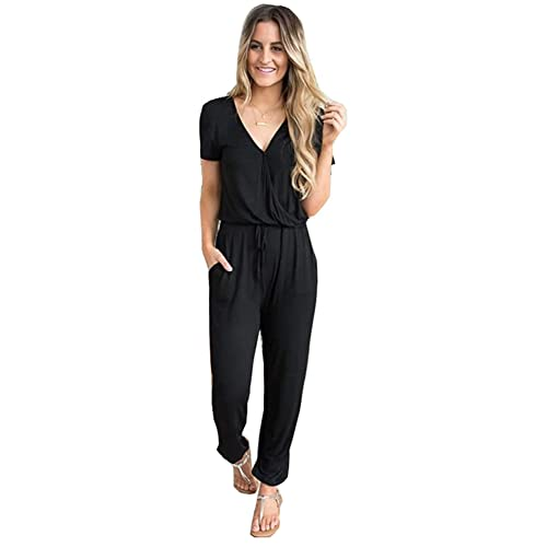68b72008fa89 Cinyifaan Women s V Neck Casual Loose Long Jumpsuits Romper Playsuit with  Belt