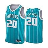 LYY Hombre Jersey, NBA Charlotte Hornets # 20 Gordon Hayward, Uniformes De Baloncesto Camisetas De Deporte Sin Mangas Clásicas Y Camisetas Cómodas,Azul,L(175~180CM)