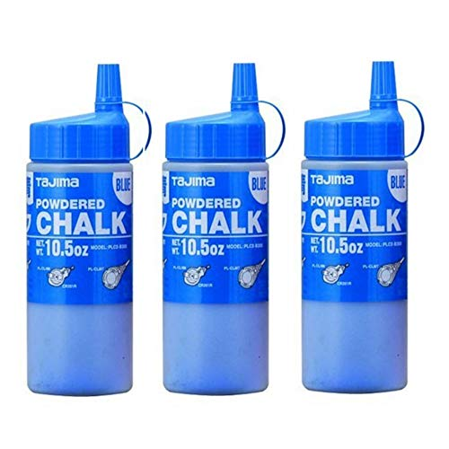 TAJIMA Micro Chalk - Blue 10.5 oz (300g) Ultra-Fine Snap-Line Chalk with Durable Bottle & Easy-Fill Nozzle - PLC2-B300-3 Pack
