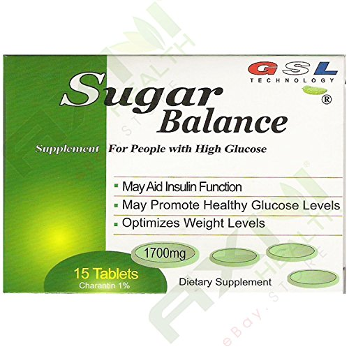 (18 Boxes) Sugar Balance Supplement for People with High Glucose 15 Tablets Per Box (18 Pack) by GSL